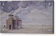 Acrylic Print featuring the painting Schoolhouse On The Hi Line by Scott Kirby