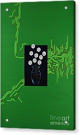 Acrylic Print featuring the painting Circuit Board Bouquet by Mary Scott