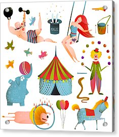 Circus Carnival Show Clip Art Vintage Acrylic Print
