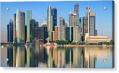 City Skyline - Singapore After Sunrise Acrylic Print by Hadynyah