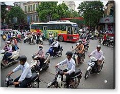 City Traffic At Rush Hour, Hanoi Acrylic Print by Grant Faint