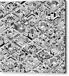City Urban Blocks Seamless Pattern Acrylic Print by Vook