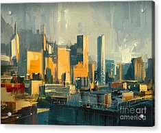 Cityscape Painting Of Urban Skyscrapers Acrylic Print