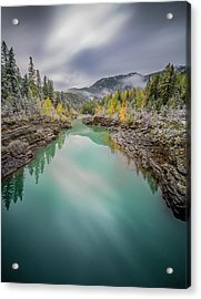 Clash Of Seasons / Flathead River, Glacier National Park  Acrylic Print