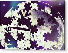 Clock Holes And Puzzle Pieces Acrylic Print