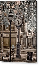 Clock On Street Acrylic Print