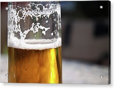 Close Up Of A Glass Of Lager Acrylic Print by Jodie Wallis