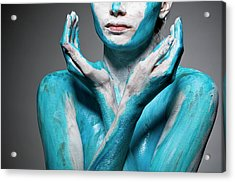 Close-up Of Body Painted Woman Acrylic Print by Tomfullum