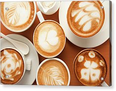Close-up Of Cups Of Cappuccino With Acrylic Print by Imagemore Co, Ltd.