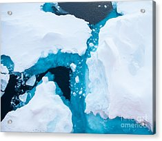 Close Up Photo Of Beautiful Blue Ice In Acrylic Print
