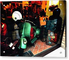 Acrylic Print featuring the photograph Clothing Shop With Vespa Pienza by Dorothy Berry-Lound
