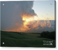 Acrylic Print featuring the photograph Cloud Bank And Sunset by PJ Boylan