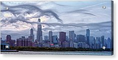 Clouds That Ate Chicago Acrylic Print by By Ken Ilio