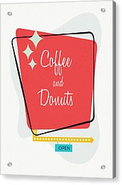Acrylic Print featuring the digital art Coffee And Donuts- Art By Linda Woods by Linda Woods