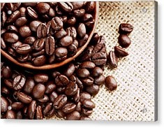 Coffee Beans Spilling From Wooden Bowl Acrylic Print by Joseph Clark