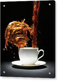 Coffee Being Poured Into Cup Splashing Acrylic Print
