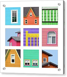 Collage Of Details Of The Colourful Houses Of The Magdalen Islan Acrylic Print
