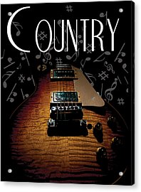 Color Country Music Guitar Notes Acrylic Print