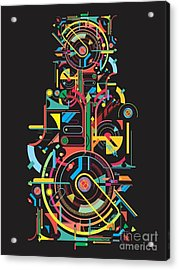 Colorful Abstract Tech Shapes On Black Acrylic Print