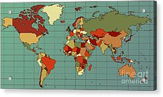Colorful And Detailed World Map With Acrylic Print