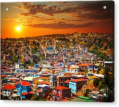 Colorful Buildings On The Hills Of The Acrylic Print