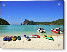 Colorful Canoes On Beach Acrylic Print by Aaron Geddes Photography