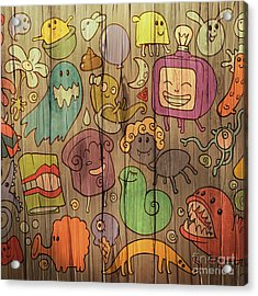 Colorful Doodle Illustrations Set With Acrylic Print