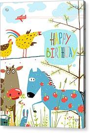 Colorful Funny Cartoon Farm Domestic Acrylic Print by Popmarleo