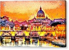 Colorful Illuminated San Peter Basilica Acrylic Print