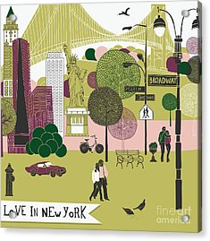 Colorful Illustration Of New York Acrylic Print by Lavandaart