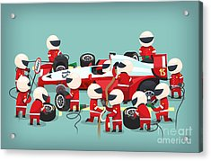 Colorful Illustration With Pit Stop Acrylic Print