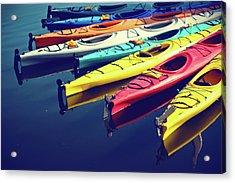 Colorful Kayaks Acrylic Print by Kyle Igarashi