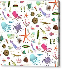 Colorful Kids Cartoon Sea Life Seamless Acrylic Print