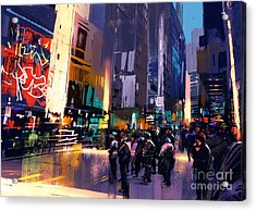 Colorful Painting Of City Acrylic Print