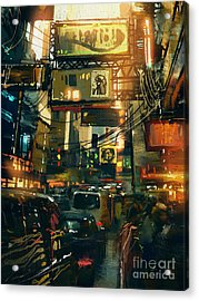 Colorful Painting Of Shopping Street In Acrylic Print by Tithi Luadthong