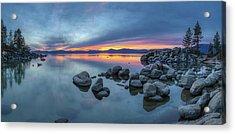 Colorful Sunset At Sand Harbor Panorama Acrylic Print