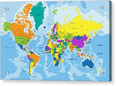 Colorful World Political Map With Acrylic Print
