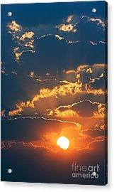 Colourful Sunrise Creating Golden Edges Acrylic Print