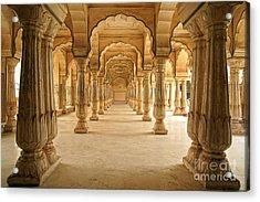 Columned Hall Of Amber Fort. Jaipur Acrylic Print by Igor Plotnikov