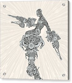 Comic-book Style Cyborg Hero Acrylic Print