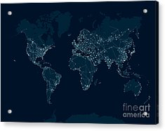 Communications Network Map Of The World Acrylic Print