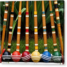Complete Set Of Croquet Mallets And Acrylic Print