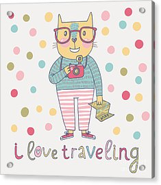 Concept Cat Hipster In Cartoon Funny Acrylic Print by Smilewithjul