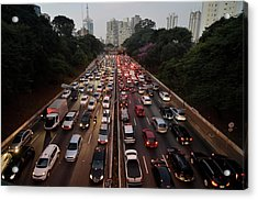 Congestionamento Em São Paulo Acrylic Print by Levi Bianco