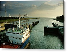 Container Ship In A Lock, Brunsbuttel Acrylic Print