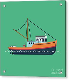 Cool Flat Design Fishing Boat Seaway Acrylic Print