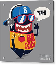 Cool Monster Graphic Acrylic Print by Braingraph