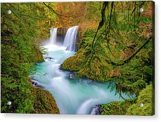 Cool Mountain Water Flows Outward To The Sea Acrylic Print