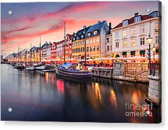 Copenhagen, Denmark On The Nyhavn Canal Acrylic Print
