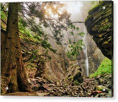 Acrylic Print featuring the photograph Copper Falls Mist And Light by Leland D Howard